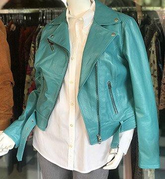 retrovita 5 terre giacca pelle verde